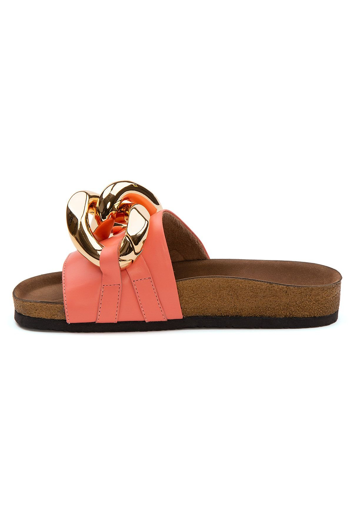 Pegia Women's Chain Detailed Leather Slippers 215536 Pink