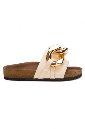 Pegia Women's Chain Detailed Leather Slippers 215536 Beige