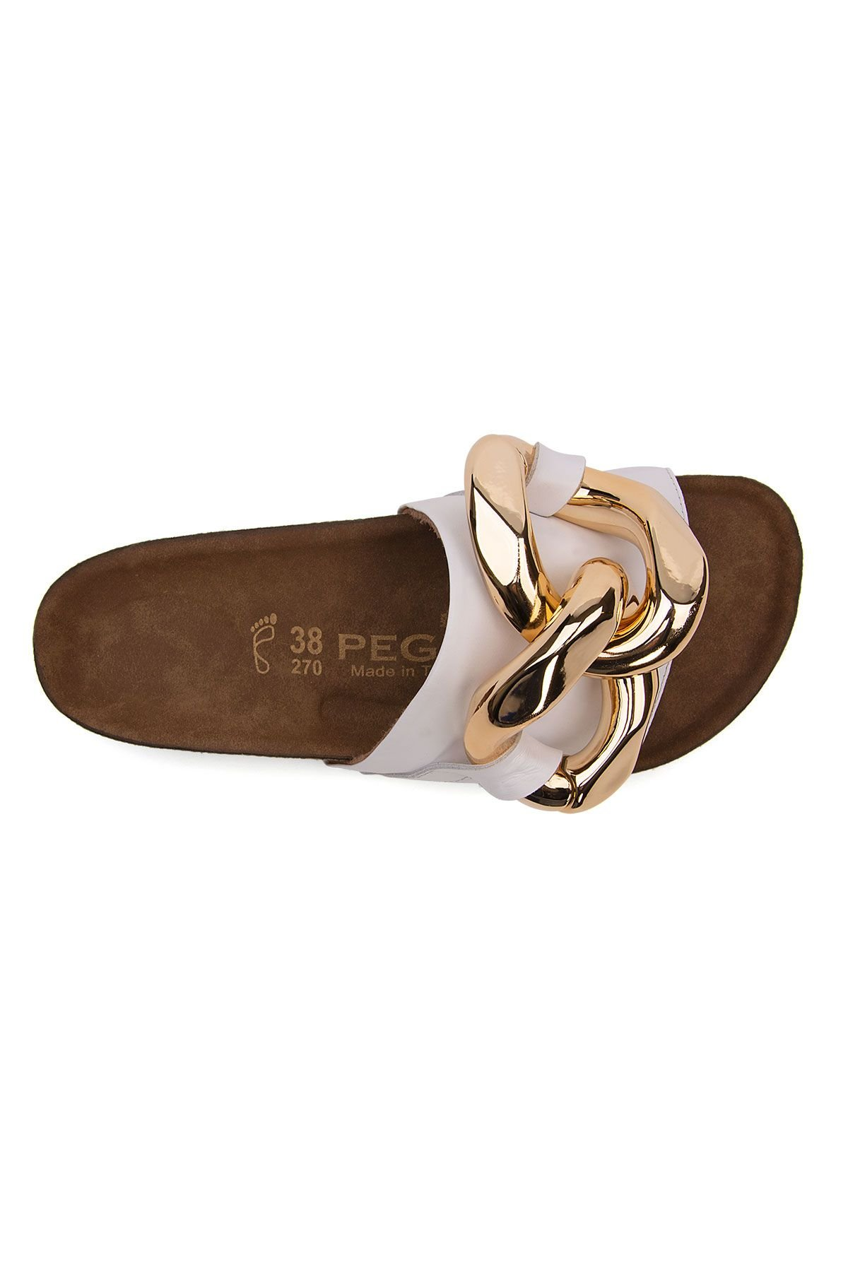 Pegia Women's Chain Detailed Leather Slippers 215536 White