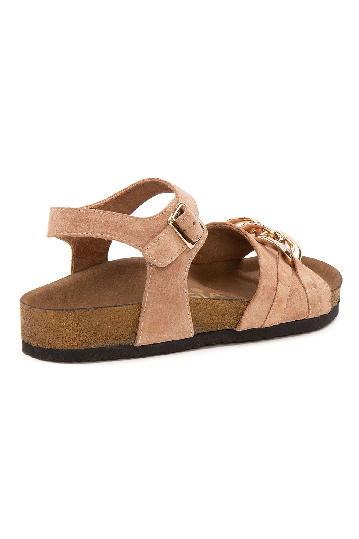 Pegia Women's Chain Detailed Suede Sandals 215533 Powdery