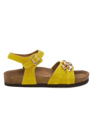 Pegia Women's Chain Detailed Suede Sandals 215533 Yellow