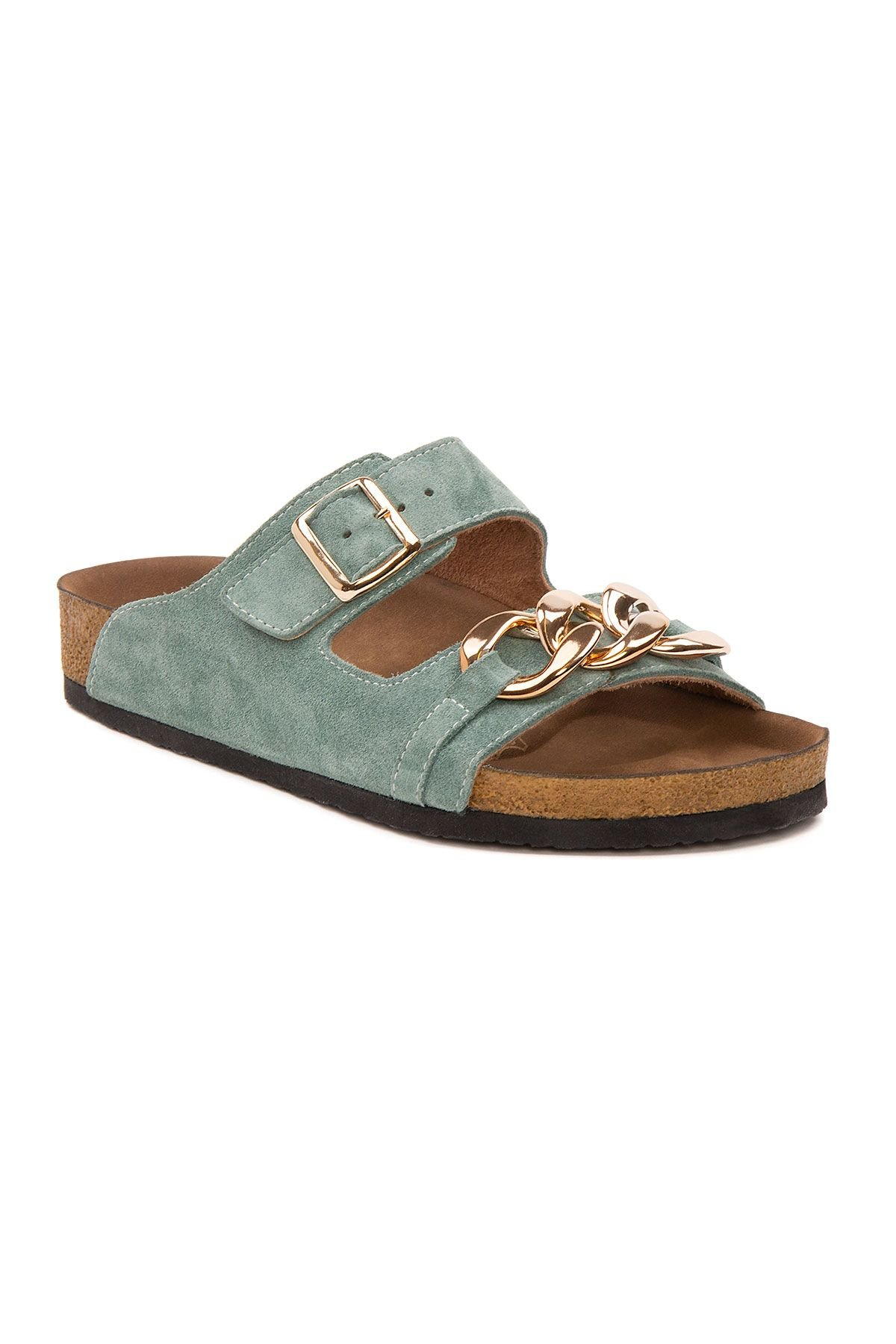 Pegia Women's Chain Detailed Suede Slippers 215531 Mint