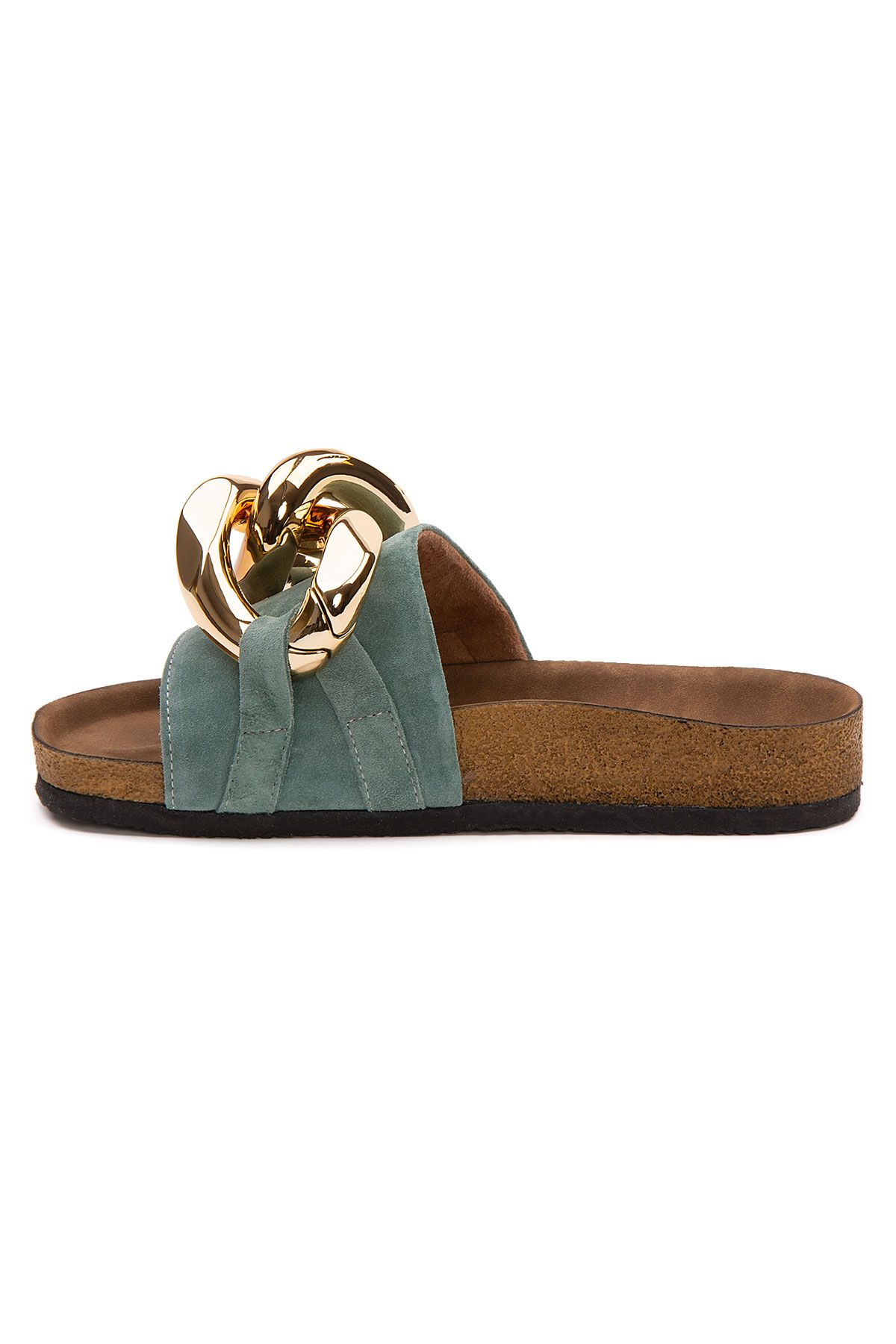 Pegia Women's Chain Detailed Suede Slippers 215535 Mint