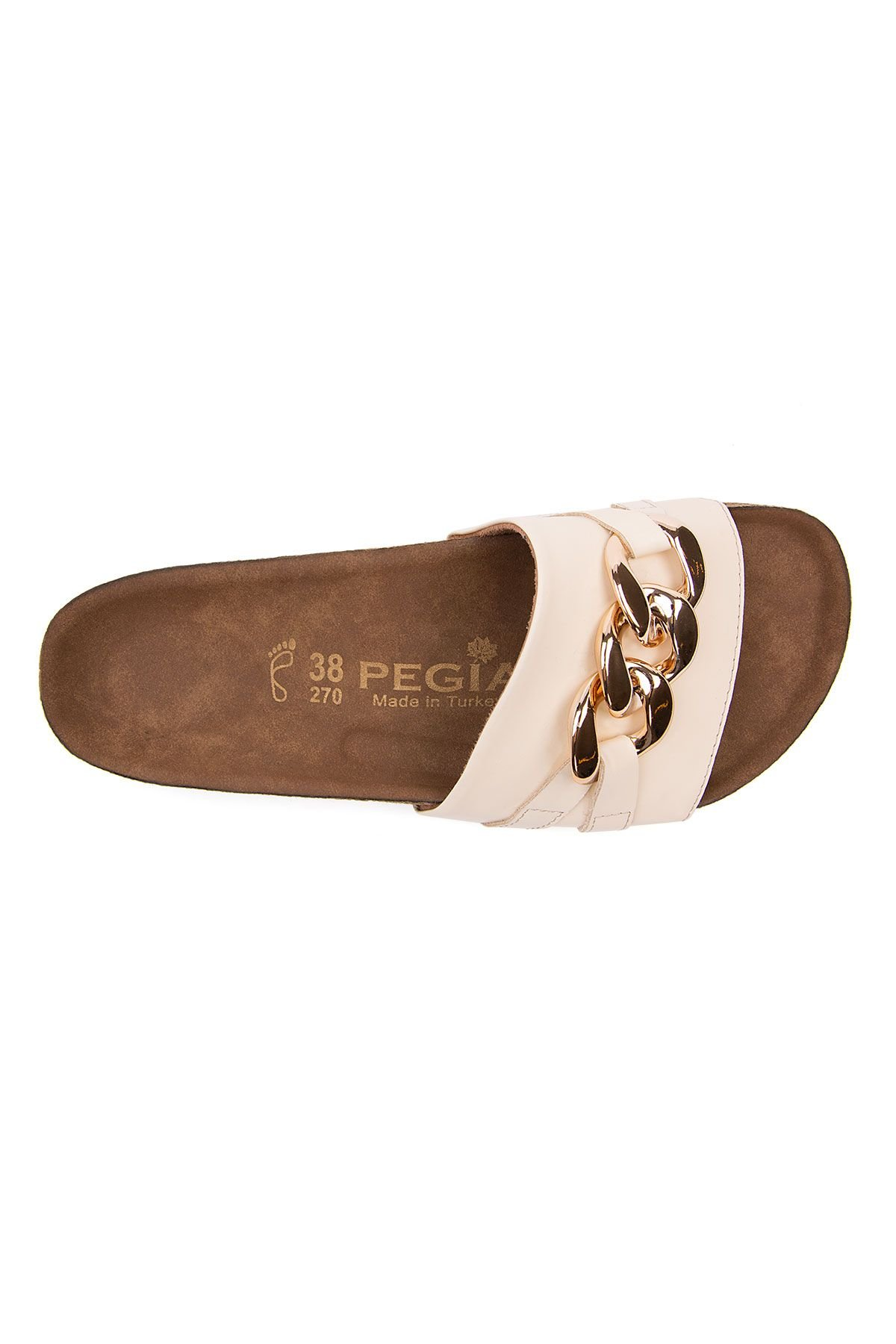Pegia Women's Chain Buckles Leather Slippers 215530 Beige