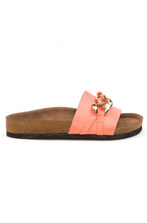 Pegia Women's Chain Buckles Leather Slippers 215530 Pink