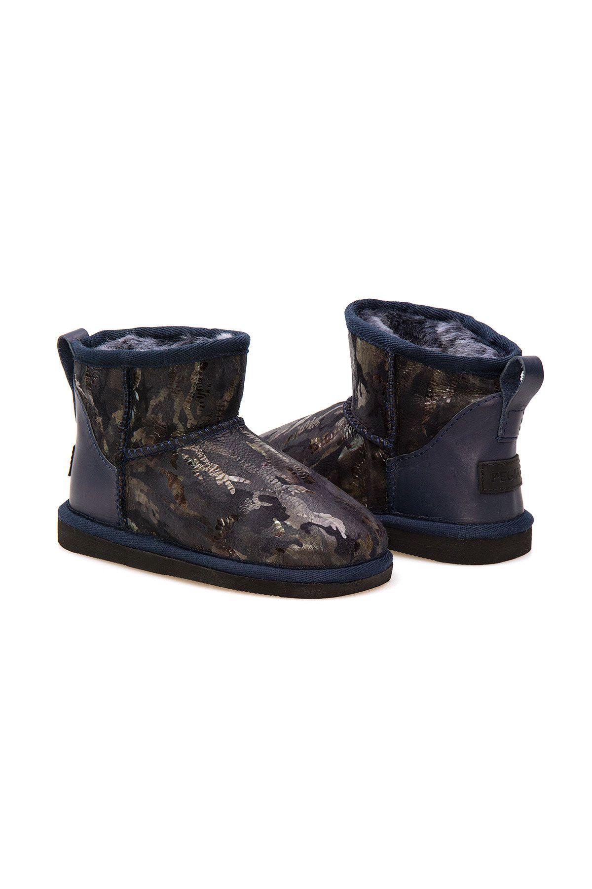 Pegia Sheepskin Kids Boots 186055 Navy blue