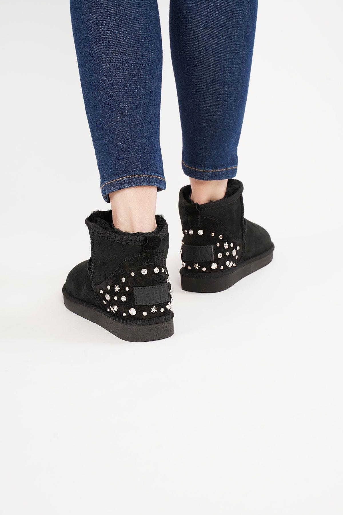 Pegia Heel Detailed Women's Mini Boots 191132 Black