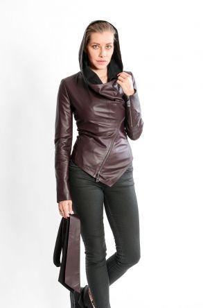 STUDIO MORIANO Genuine Leather Women's Jacket 19CB010 Claret red