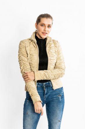 STUDIO MORIANO Genuine Leather Women's Jacket 19CB054 Beige