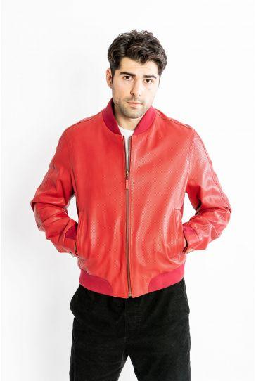 STUDIO MORIANO Hakiki Deri Erkek Ceket 17CE137 Kırmızı