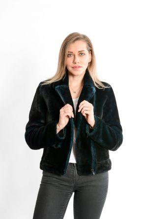STUDIO MORIANO Genuine Shearling Women's Jacket 19CB004 Black