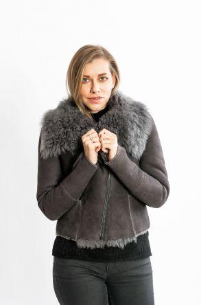 STUDIO MORIANO Genuine Sheepskin Women's Jacket 19CB032 Gray