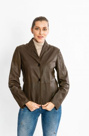 STUDIO MORIANO Genuine Sheepskin Women's Jacket 19CB063 Brown