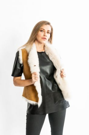 STUDIO MORIANO Sheepskin Women's Jacket 19CB037 Ginger