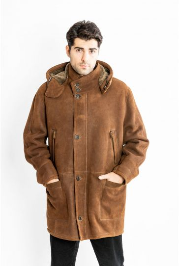STUDIO MORIANO Genuine Shearling Men's Hooded Coat 17CE90 Ginger