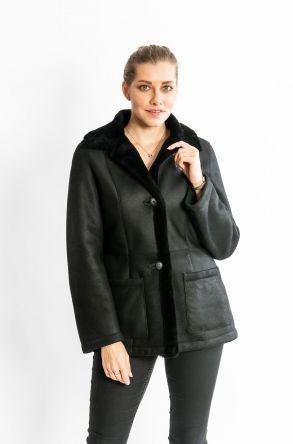 STUDIO MORIANO Genuine Shearling Women's Coat 19CB022 Black