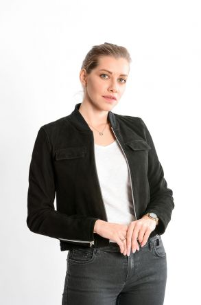 STUDIO MORIANO Genuine Suede Women's Jacket 19CB009 Black