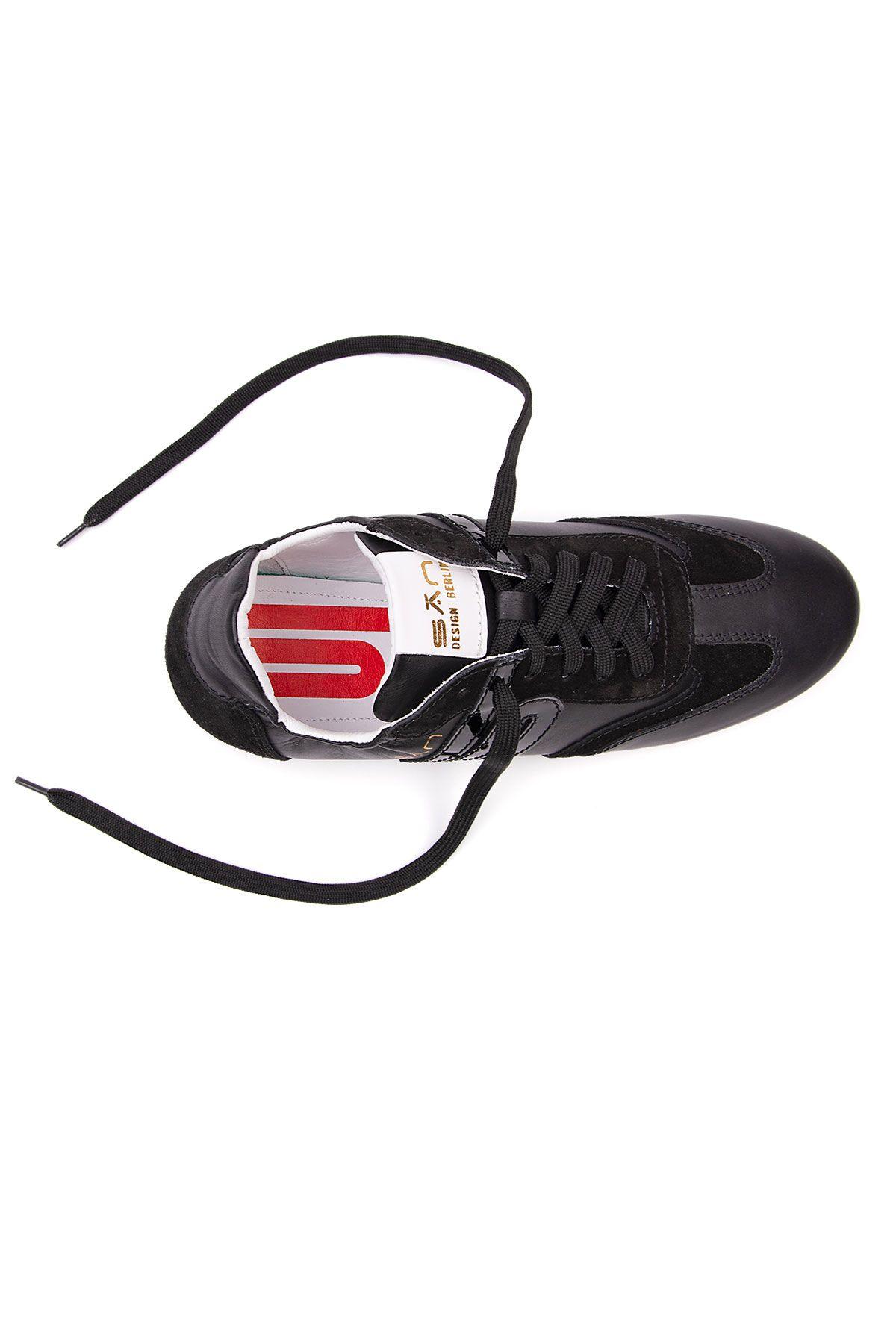 San Women's Leather Sneakers SAN04S Black