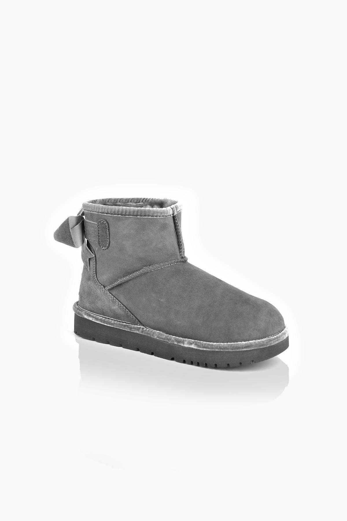 Tms Extra-Short Women Boots With Bow T-26481 Gray