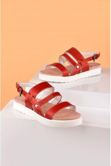 Pegia Gabrielle Hakiki Deri Bayan Sandalet REC-001 Bordo