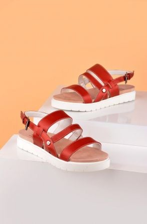 Pegia Gabrielle Women Sandals From Genuine Leather REC-001 Claret red