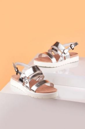 Pegia Gabrielle Women Sandals From Genuine Leather REC-001 Silver
