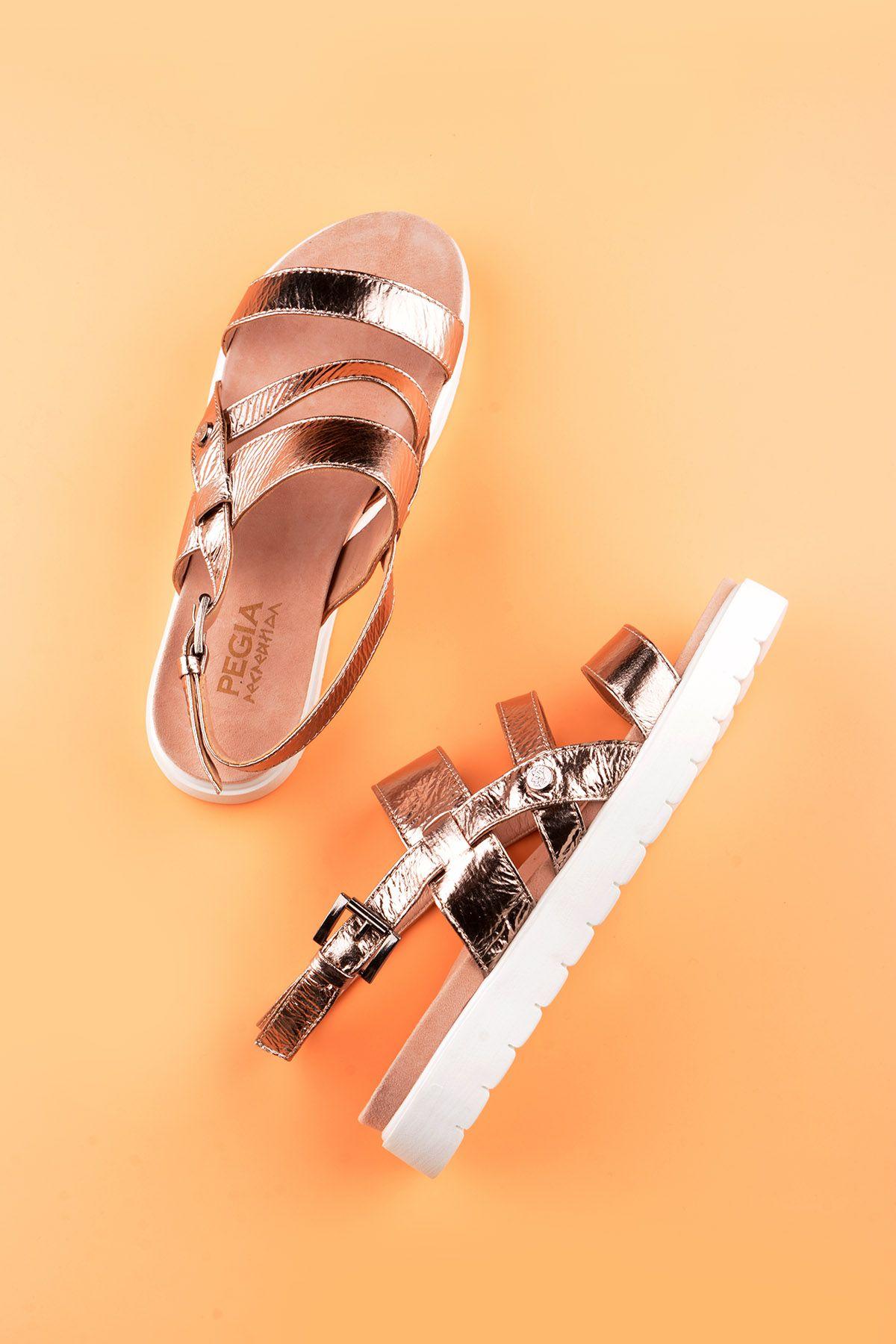 Pegia Gabrielle Hakiki Deri Bayan Sandalet REC-001 Bronz