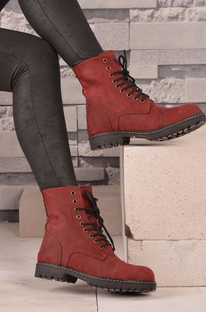 Pegia Laced Women Boots From Genuine Fur And Nubuck 500399 Claret red 36