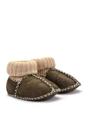 Pegia Kids Booties From Genuine Fur Khaki