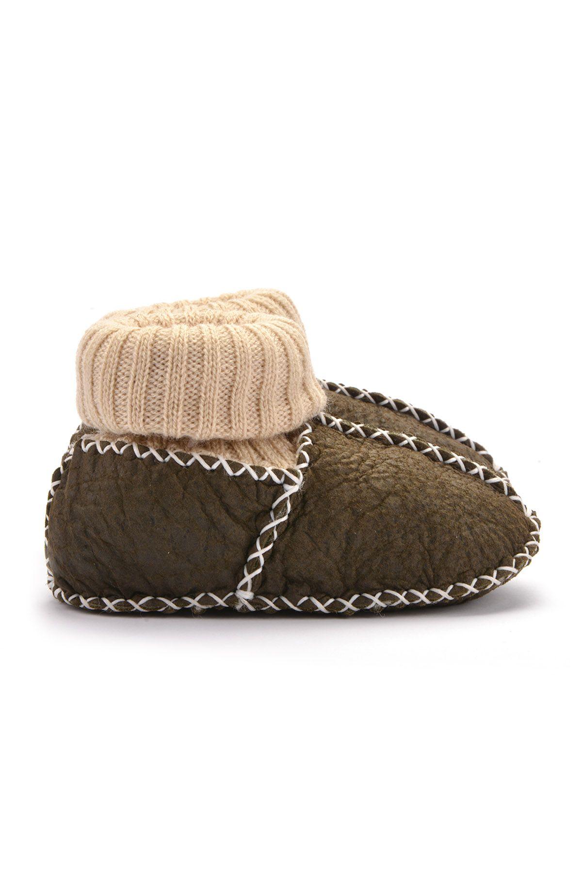 Pegia Hakiki Kürklü Çoraplı Bebek Patiği 141006 Haki