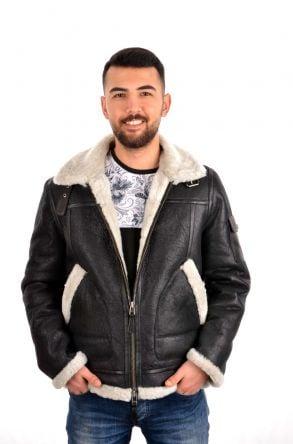 Pegia Hakiki Kürklü Erkek Ceket 17CE08 Siyah/Beyaz