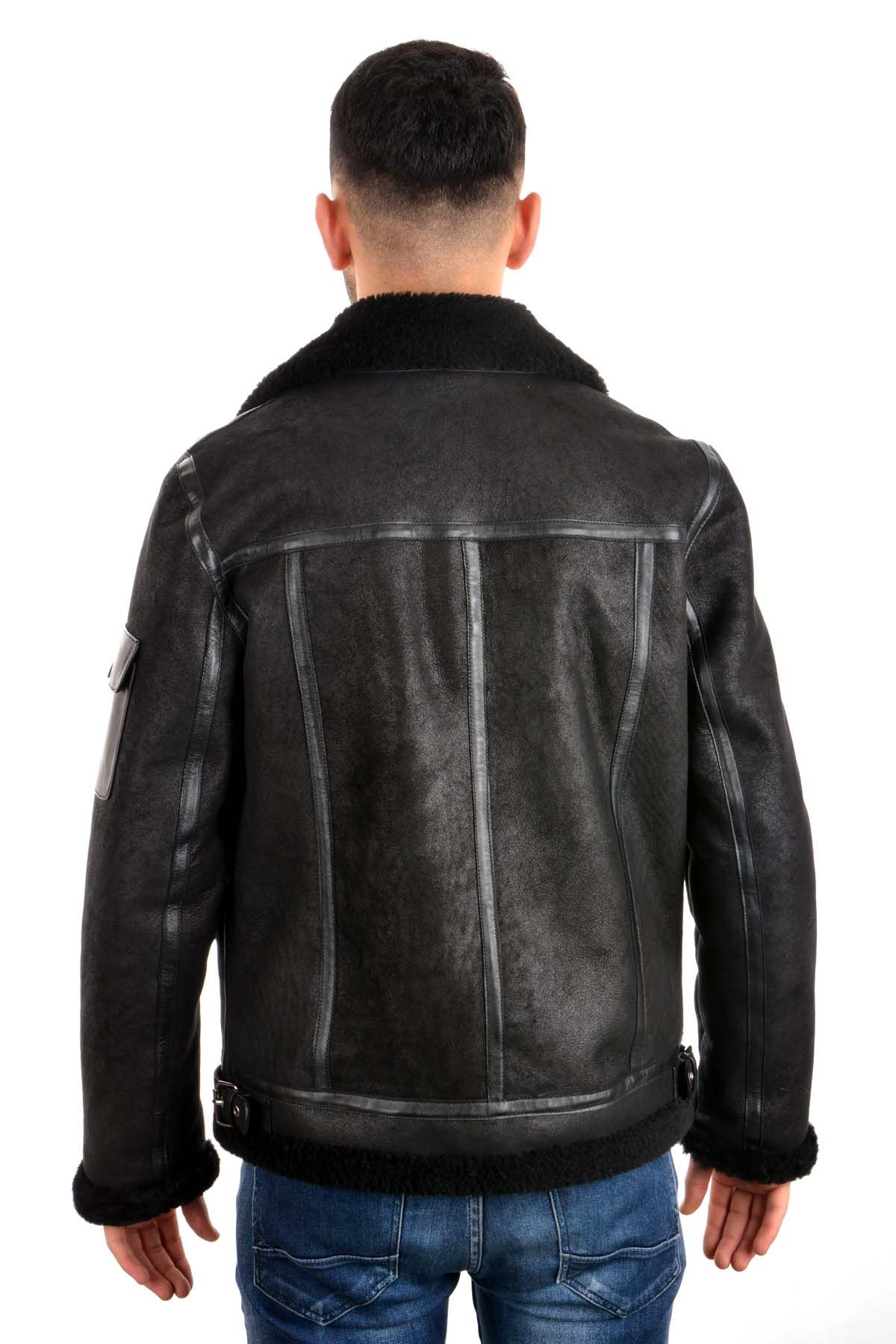 Pegia Men Fur Jacket Black