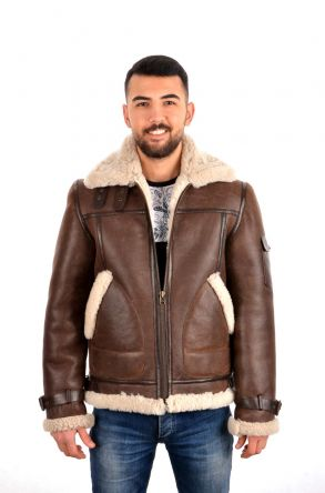 Pegia Men Shearling Coat Brown