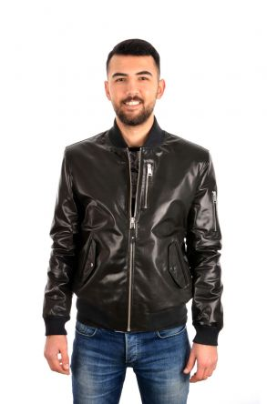 Pegia Zipped Men Leather Jacket Black