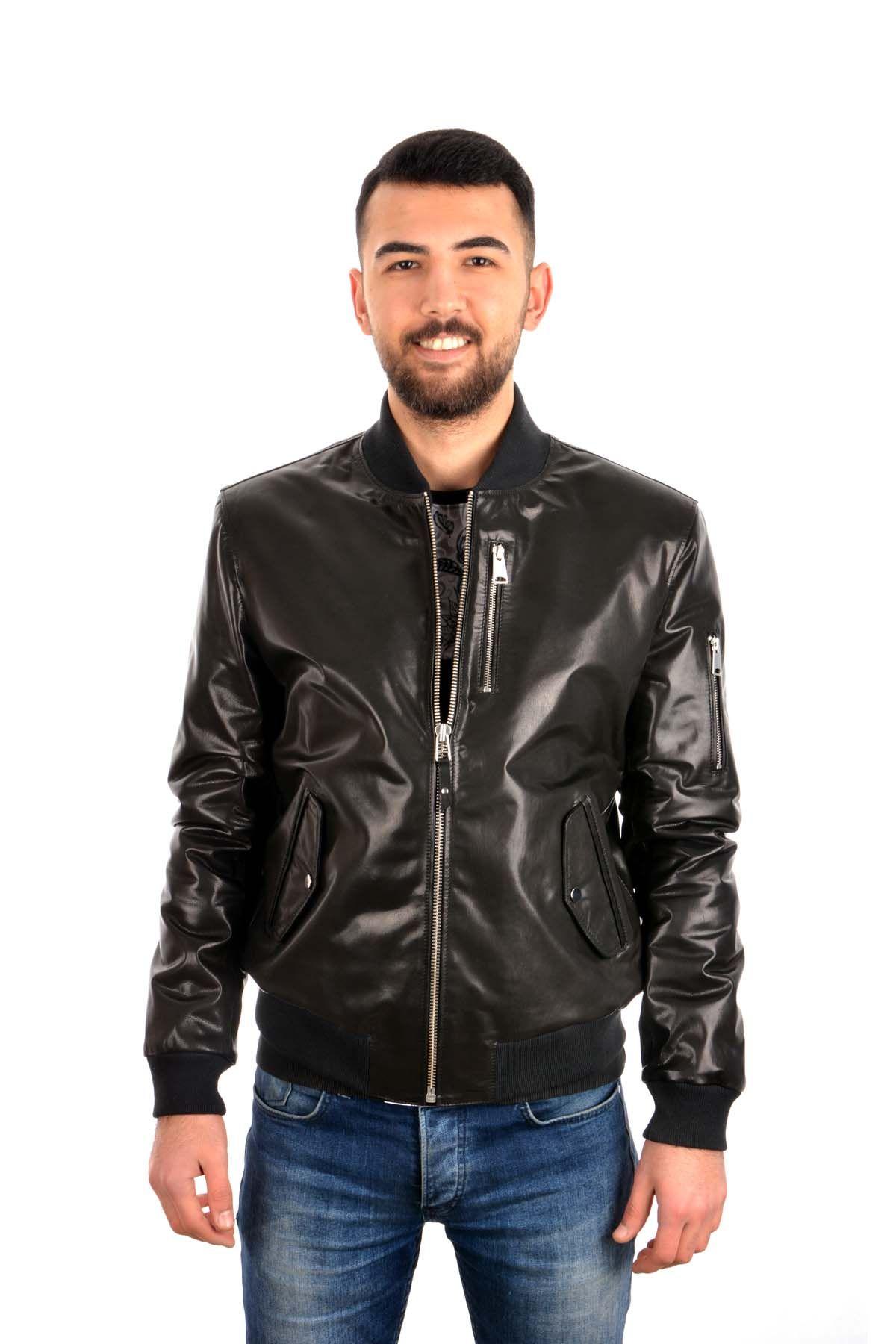 Pegia Zipped Men Leather Jacket Black