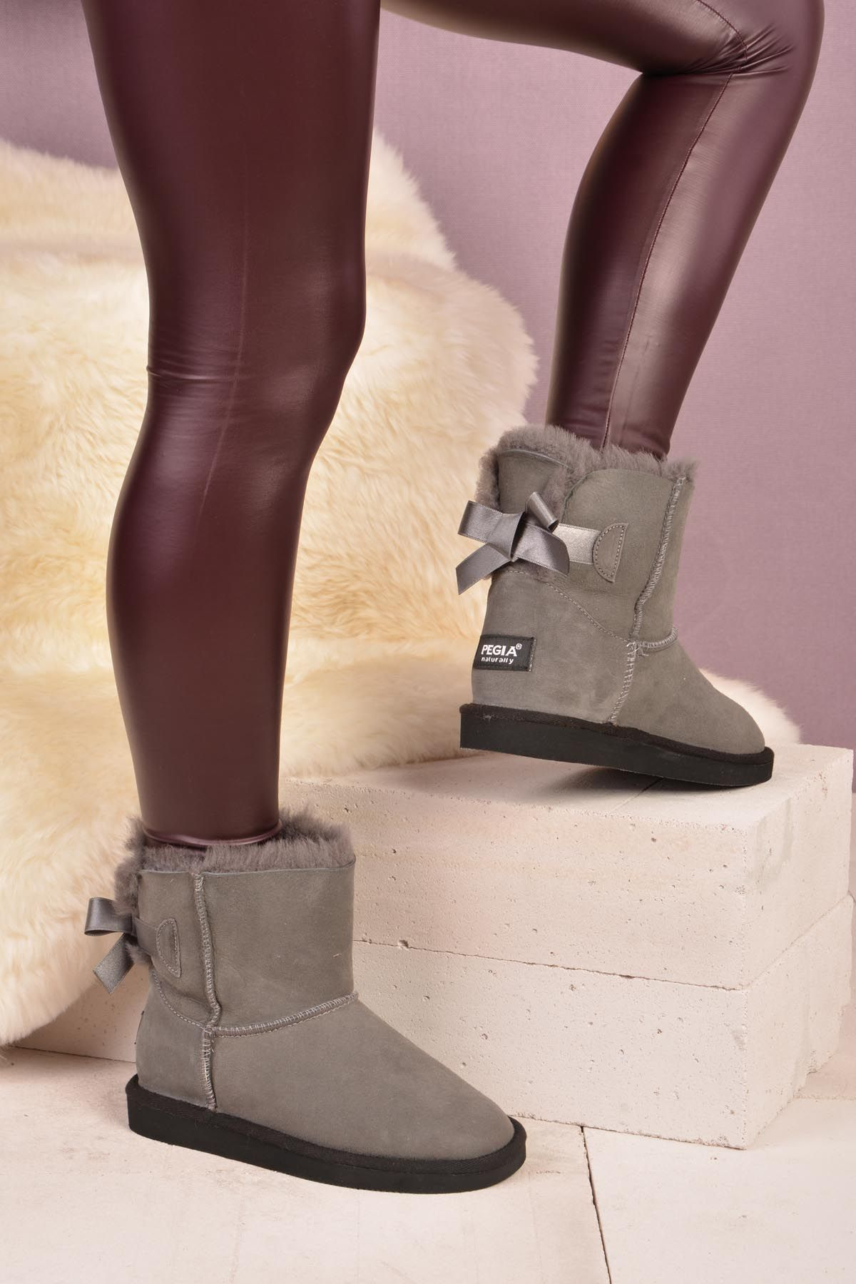 Pegia Short Women Boots From Genuine Fur Decorated With Bow 101071 Gray