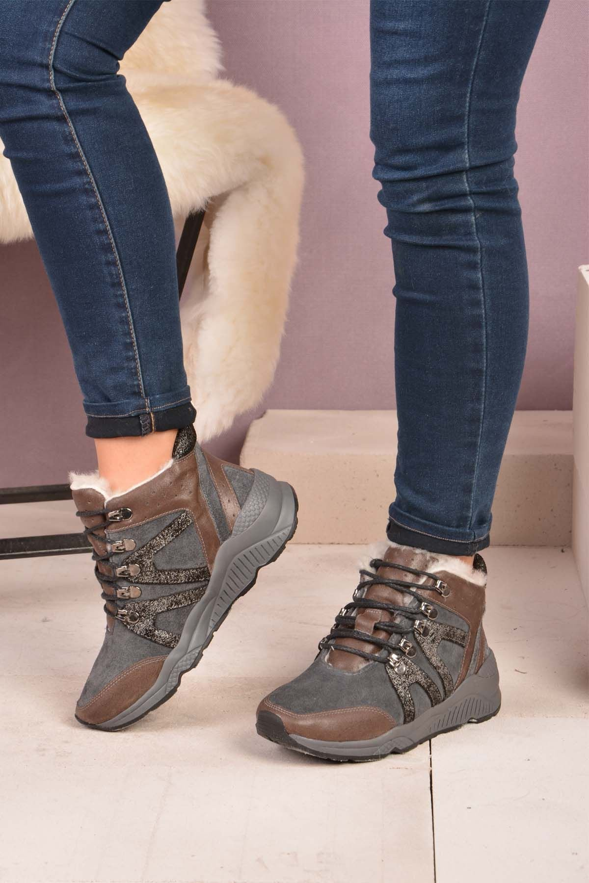 Pegia Laced Women Boots From Genuine Fur 157403 Gray