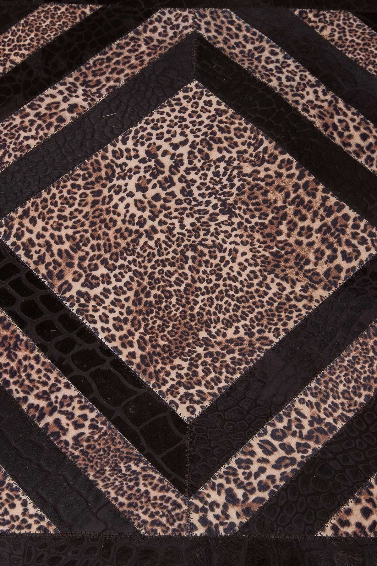 Erdogan Deri Rug From Crocodile Leather With Leopard Pattern Brown