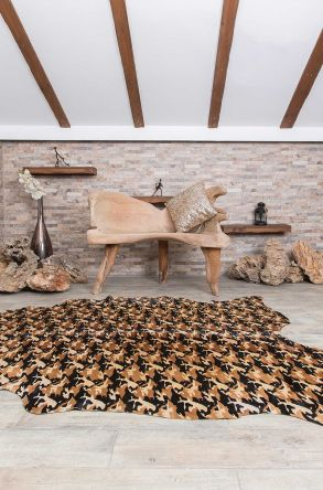 Erdogan Deri Calfskin Rug With Camouflage Pattern Ginger