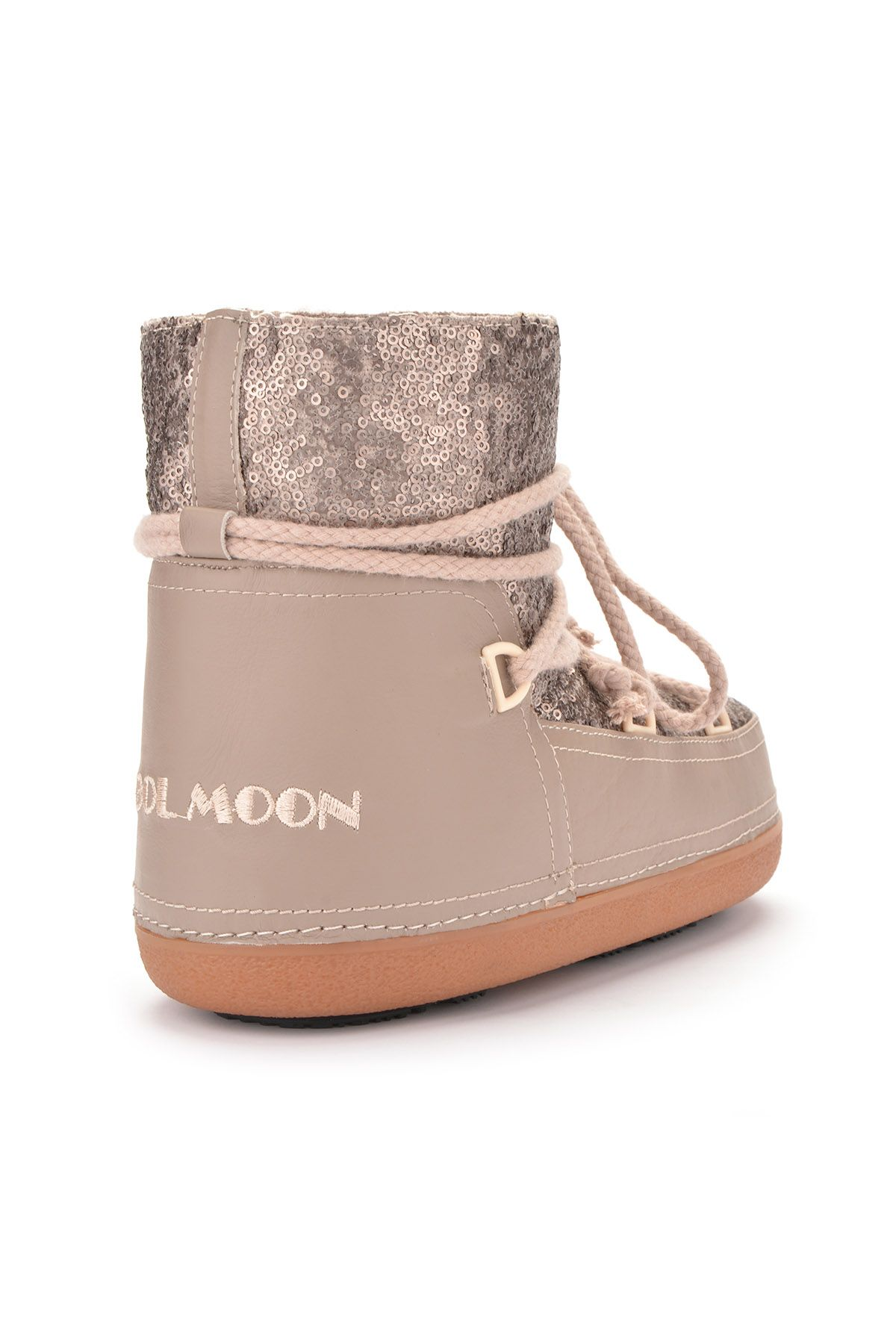 Cool Moon Women Snowboots From Genuine Fur With Sequins Visone