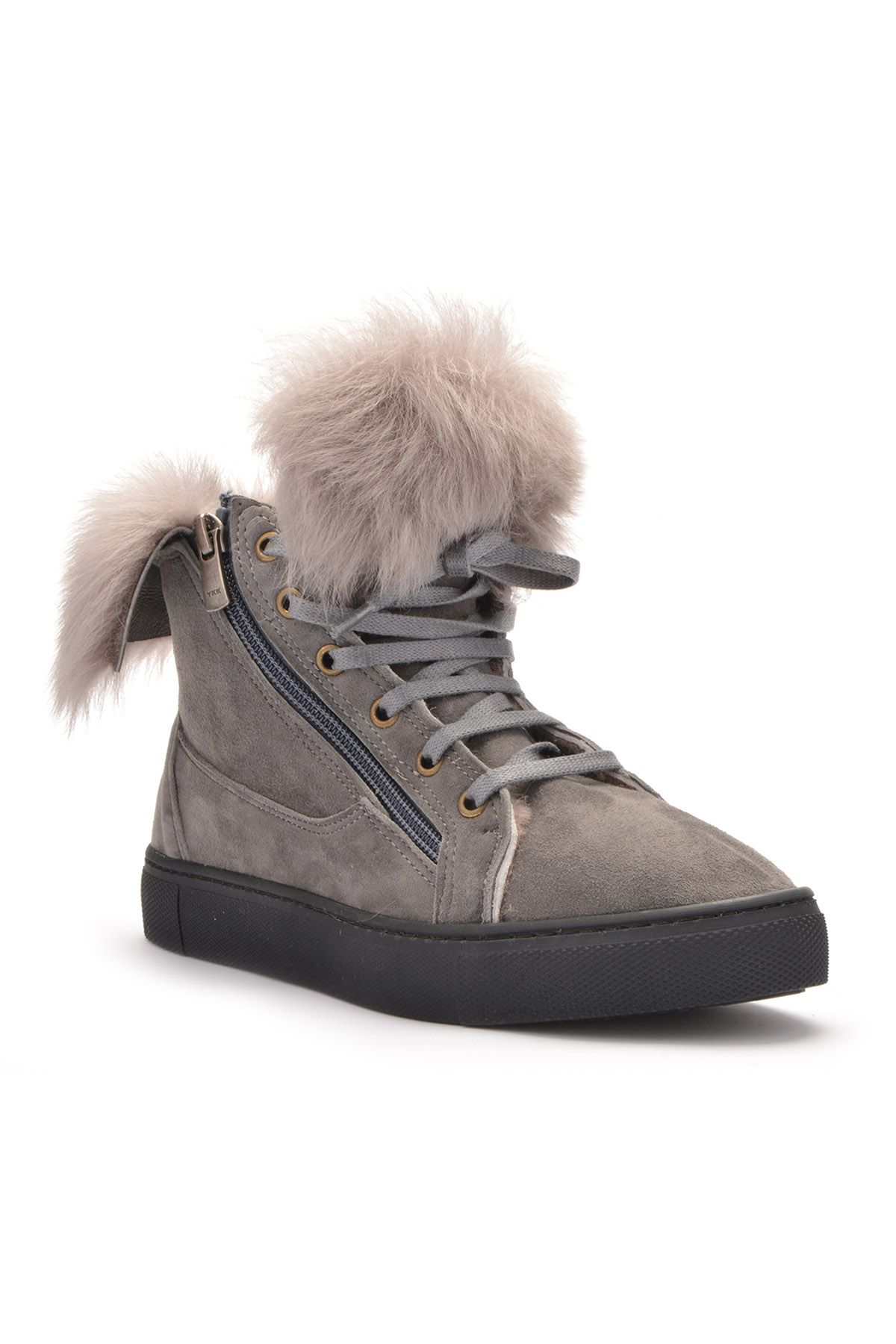 Pegia Women Boots With Zip Decorated With Genuine Toscana Fur 659548 Gray
