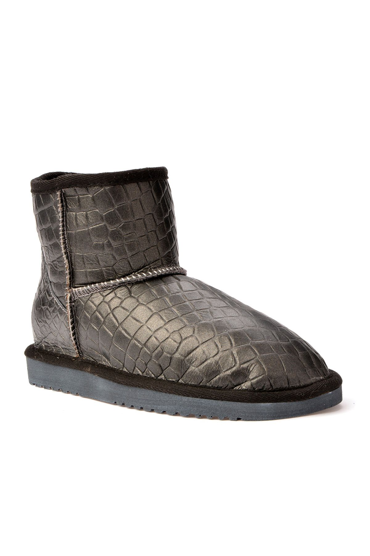 Cool Moon Women Boots From Genuine Fur With Crocodile Pattern 990176 Anthracite-colored