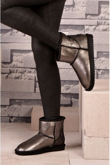 Cool Moon Women Boots From Genuine Fur Silver