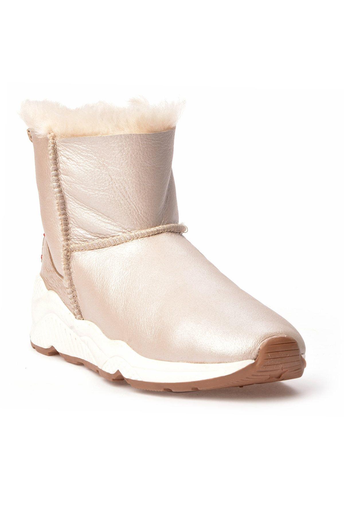Alba Women Boots From Genuine Fur With Side Zip Beige