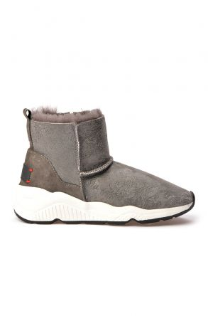 Alba Women Boots From Genuine Fur With Side Zip Gray
