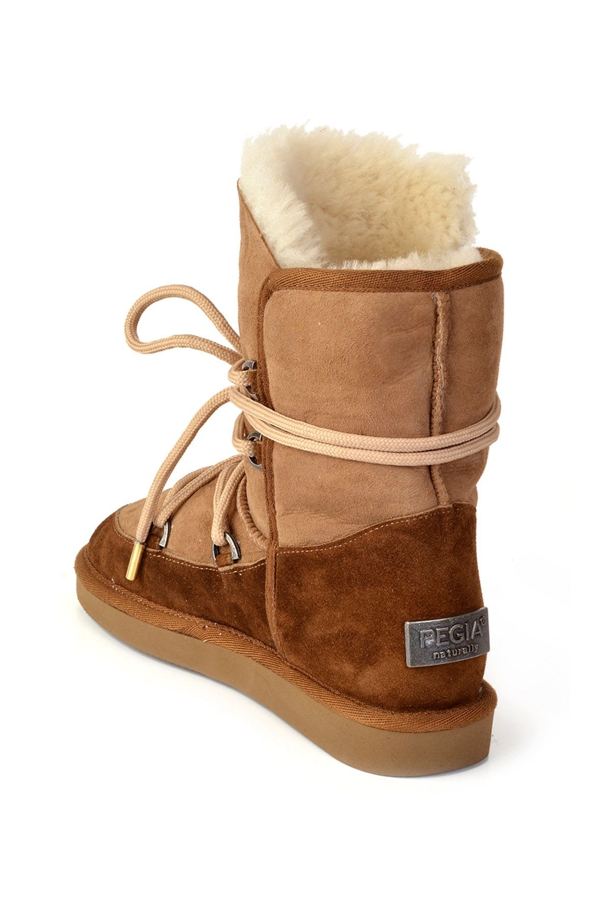 Pegia Laced Women Boots From Genuine Leather & Fur Sand-colored