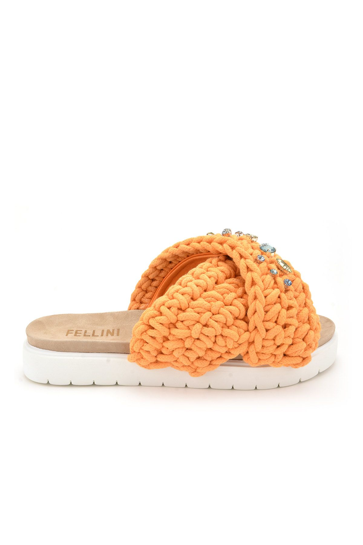 Fln Women Slippers From Genuine Leather And Cotton Cord Orange