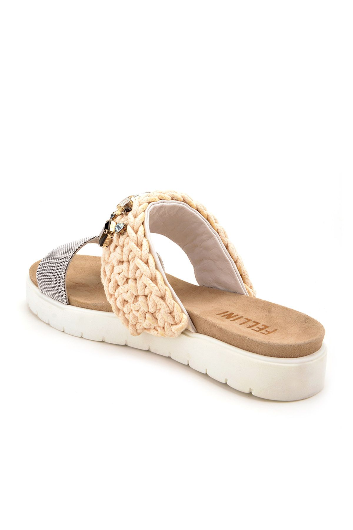 Fln Women Slippers From Genuine Leather And Cotton Cord Beige