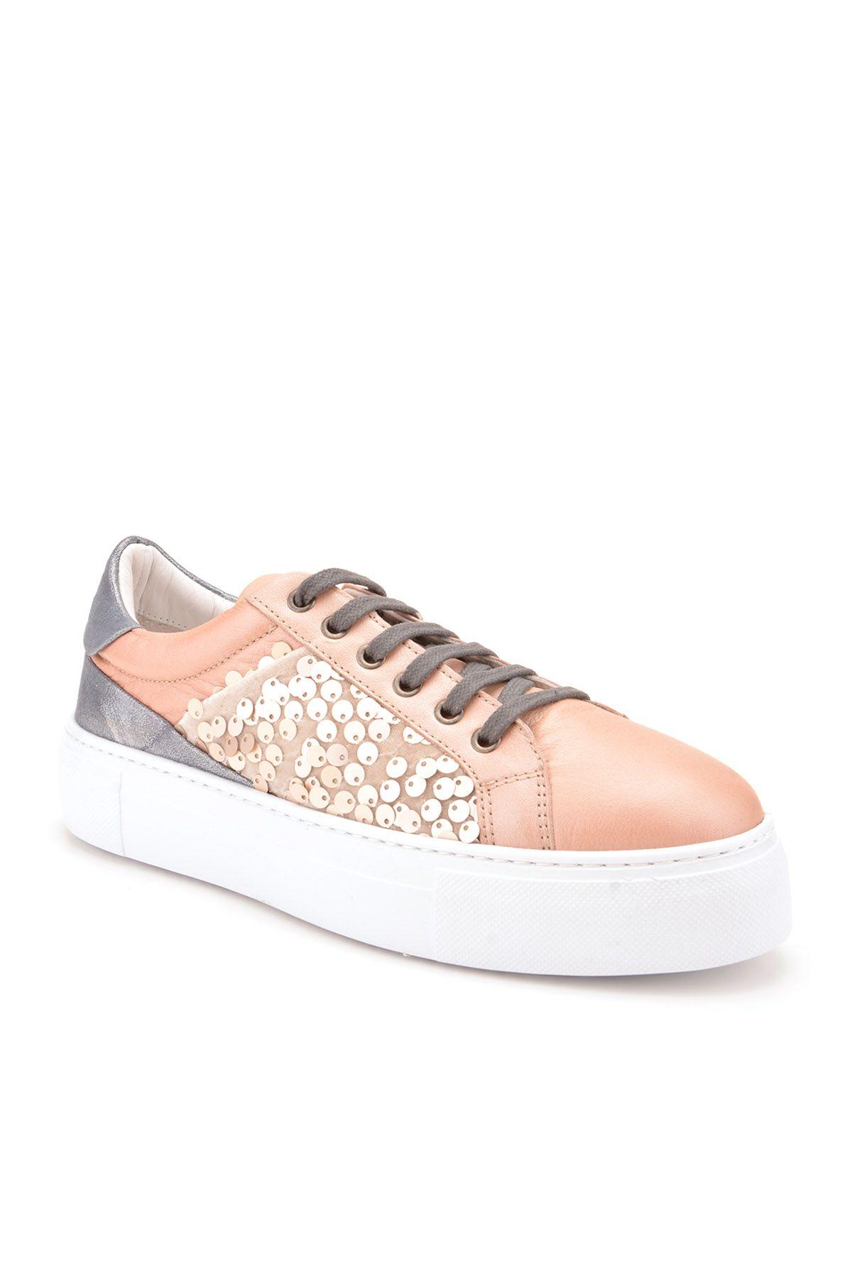 Pegia Blanche Hakiki Deri Bayan Spor Ayakkabı REC-002 Pudra