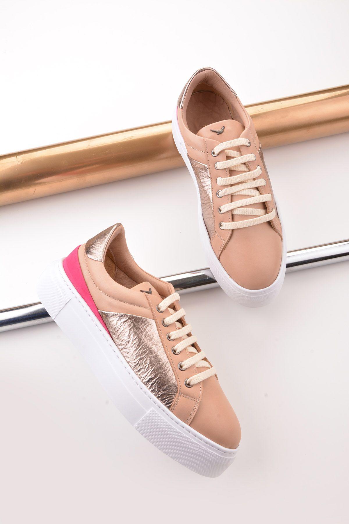 Pegia Blanche Hakiki Deri Bayan Spor Ayakkabı REC-002 Krem